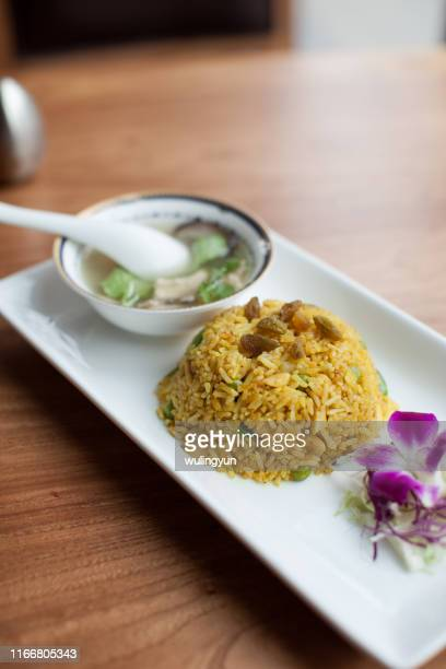 curry chicken rice with soup set - curry soup stock photos and pictures