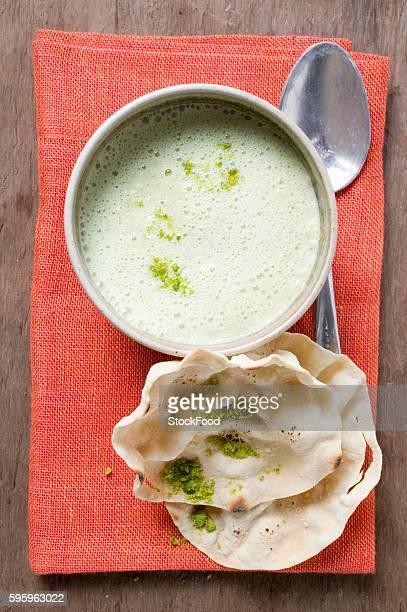 curry soup with poppadams (india) - curry soup stock photos and pictures