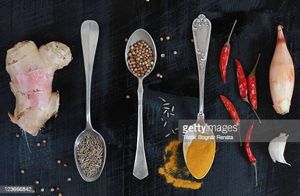 Curry spices on dark background