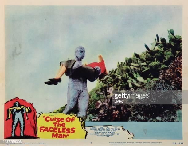 Curse Of The Faceless Man lobbycard Bob Bryant carrying Adele Mara 1958