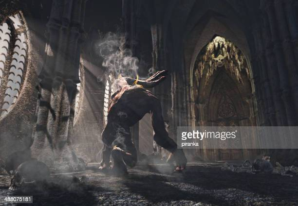 cursed monster kneeling in the church - monster stock pictures, royalty-free photos & images