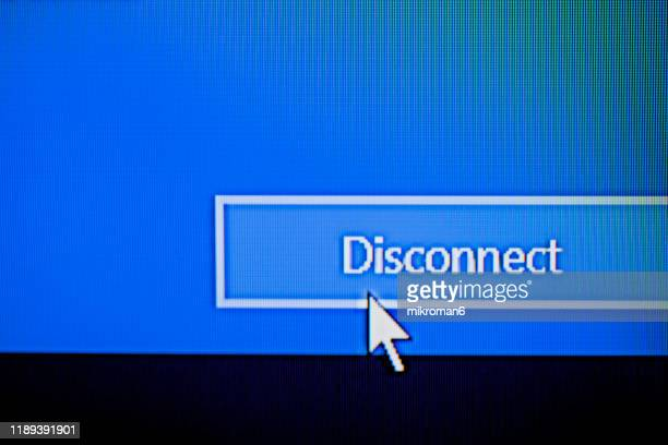 cursor pointing to word disconnect on a computer screen - cursor stock pictures, royalty-free photos & images