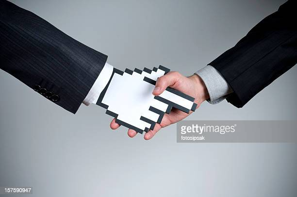 Cursorman shaking hands with a human