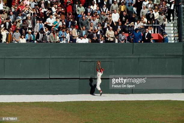 Curt Flood of the St. Louis Cardinals makes a catch at the wall during the1964 world series against the New York Yankees at Yankee Stadium in Bronx,...