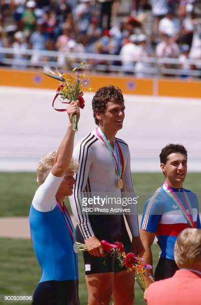 Curt Harnett Fredy Schmidtke Fabrice Colas Men's Track cycling 1 km time trial medal ceremony Olympic Velodrome at the 1984 Summer Olympics July 30...