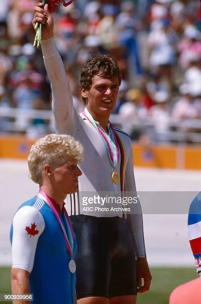 Curt Harnett Fredy Schmidtke Men's Track cycling 1 km time trial medal ceremony Olympic Velodrome at the 1984 Summer Olympics July 30 1984