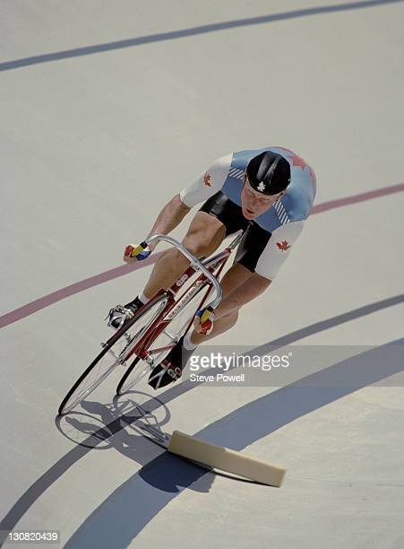 Curt Harnett of Canada during the Men's 1000 metres Time Trial on 30th July 1984 during the XXIII Olympic Summer Games at the Olympic Velodrome at...