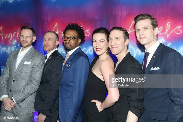 """Curt James, Matty Oaks, Genesis Oliver, Amy Blackman, Ron Todorowski and Lee Aaron Rosen attend Broadway opening night of """"Angels in America"""" after..."""