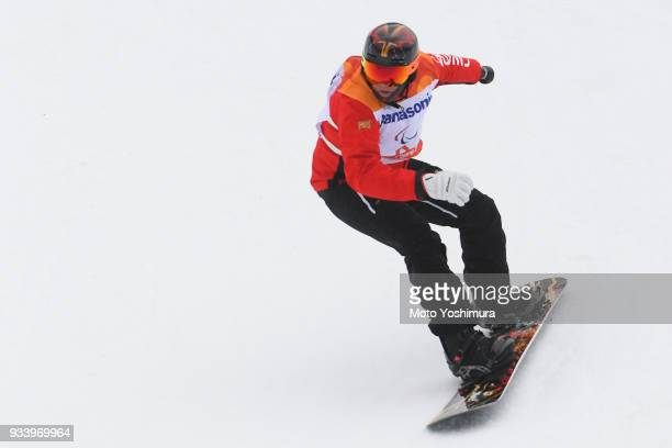 Curt Minard of Canada competes in the Snowboard Men's Banked Slalom SBUL Run 1 on day seven of the PyeongChang 2018 Paralympic Games on March 16 2018...