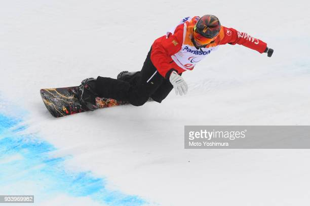 Curt Minard of Canada competes in the Snowboard Men's Banked Slalom SBUL Run 2 on day seven of the PyeongChang 2018 Paralympic Games on March 16 2018...