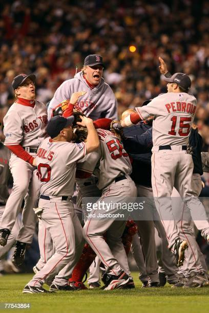 Curt Schilling and the Boston Red Sox celebrate after winning Game Four by a score of the 43 to win the 2007 Major League Baseball World Series in a...
