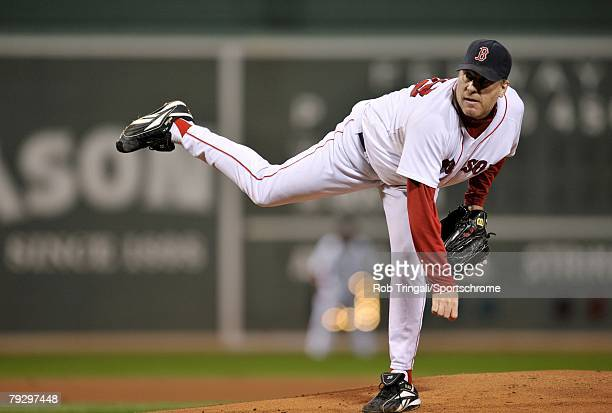 Curt Schilling of the Boston Red Sox pitches against the Cleveland Indians before game six of the American League Championship Series on October 20...