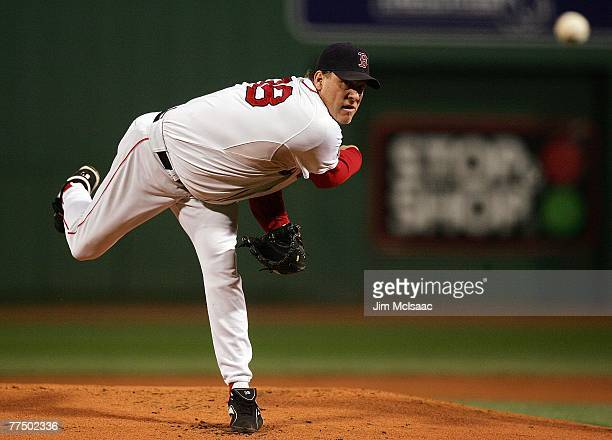 Curt Schilling of the Boston Red Sox pitches against the Colorado Rockies during Game Two of the 2007 Major League Baseball World Series at Fenway...