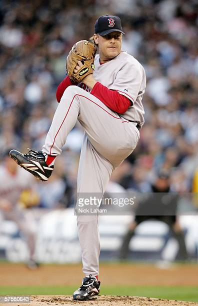 Curt Schilling of the Boston Red Sox pitches against the New York Yankees on May 10 2006 at Yankee Stadium in the Bronx borough of New York City