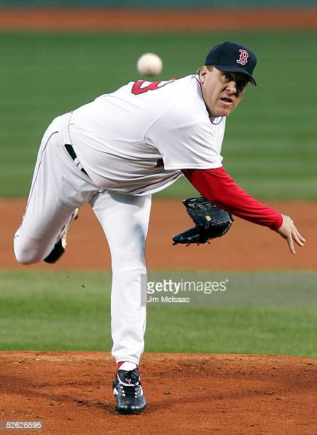 Curt Schilling of the Boston Red Sox pitches against the New York Yankees during his first game of the season at Fenway Park on April 13 2005 in...