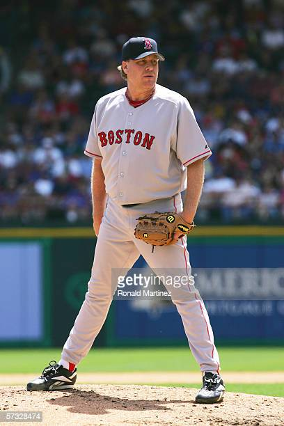 Curt Schilling of the Boston Red Sox pitches against the Texas Rangers during the Opening Day game at Ameriquest Field in Arlington on April 3 2006...