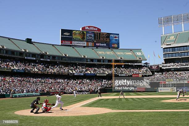 Curt Schilling of the Boston Red Sox pitches to Shannon Stewart of the Oakland Athletics during the game at the McAfee Coliseum in Oakland California...