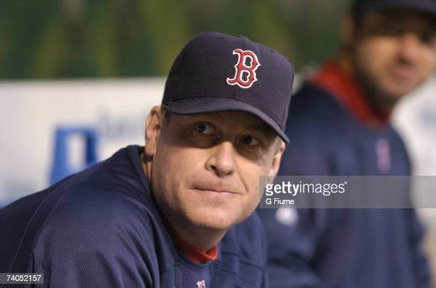 Curt Schilling of the Boston Red Sox sits in the dugout during the game against the Baltimore Orioles at Camden Yards April 26 2007 in Baltimore...