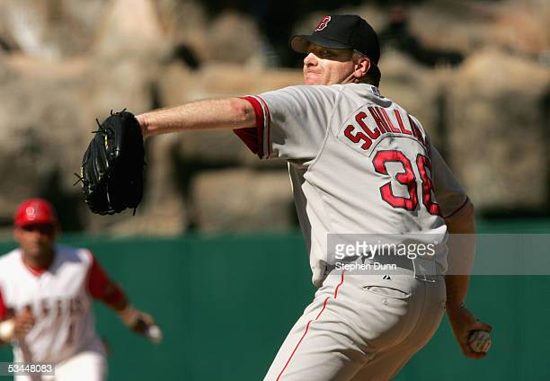 Curt Schilling of the Boston Red Sox throws a pitch against the Los Angeles Angels of Anaheim on August 21 2005 at Angel Stadium in Anaheim...
