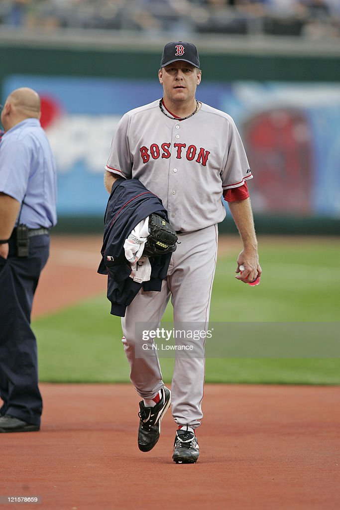 Curt Schilling of the Boston Red Sox walks in from the bullpen prior to a start against the Kansas City Royals at Kauffman Stadium in Kansas City, Mo. on August 25, 2005. The Royals won 7-4.