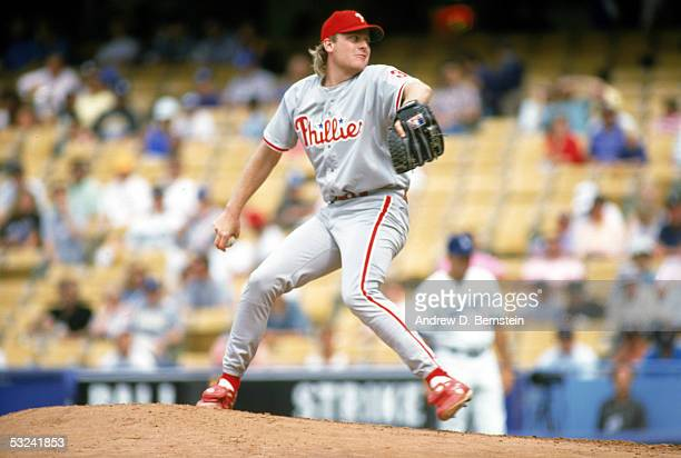 Curt Schilling of the Philadelphia Phillies delivers the ball during a season game on July 3 1992 Curt Schilling played for the Philadelphia Phillies...