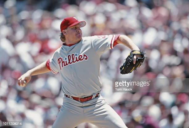 Curt Schilling pitcher for the Philadelphia Phillies on the mound throwing a pitch during the Major League Baseball National League West game against...