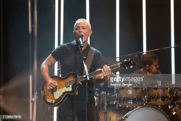 Curt Smith of Tears for Fears performs at First Direct Arena Leeds on February 09, 2019 in Leeds, England.