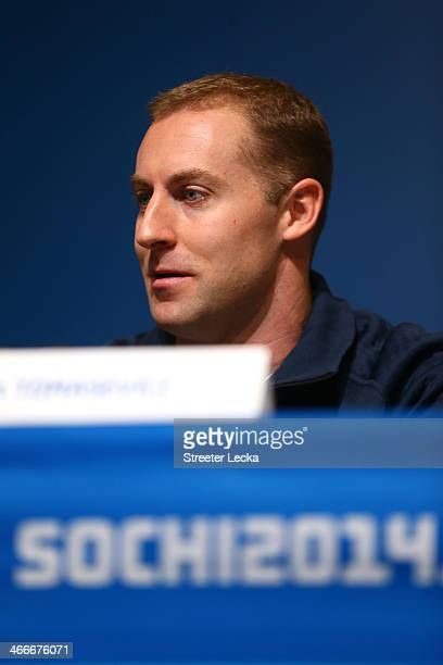 Curt Tomasevicz of the United States attends a Men's Bobsleigh team press conference ahead of the Sochi 2014 Winter Olympics at the Main Press Centre...