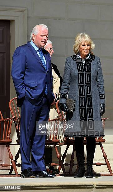 Curt Viebranz President of Mt Vernon speaks with the Duchess of Cornwall Camilla Parker Bowles as she and Prince Charles tour George Washington's Mt...