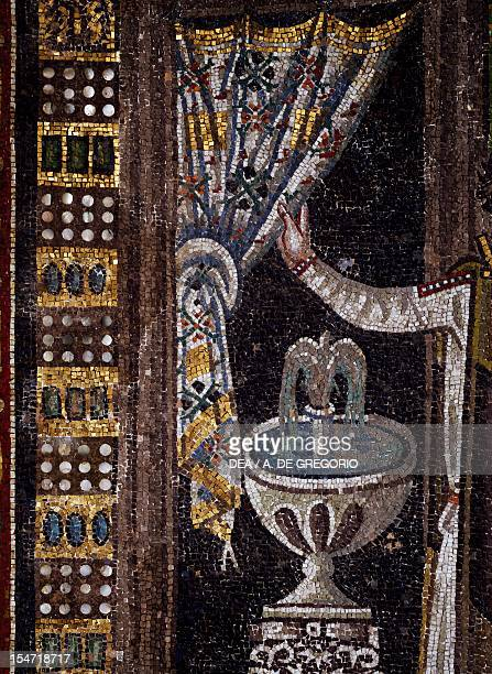 Curtain and drinking fountain detail from Theodora and her entourage mosaic south wall of the aspe Basilica of San Vitale Ravenna EmiliaRomagna Italy...