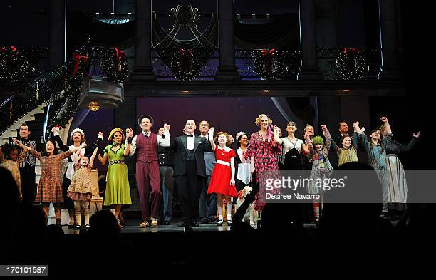 Curtain Call at Broadway's 'ANNIE The Musical' Composer Charles Strouse Birthday Celebration at the Palace Theatre on June 6 2013 in New York City
