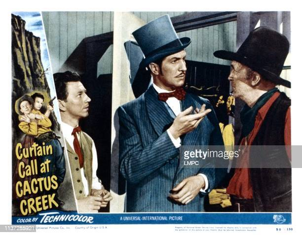 Curtain Call At Cactus Creek, lobbycard, from left, Donald O'Connor, Vincent Price, Walter Brennan, 1950.