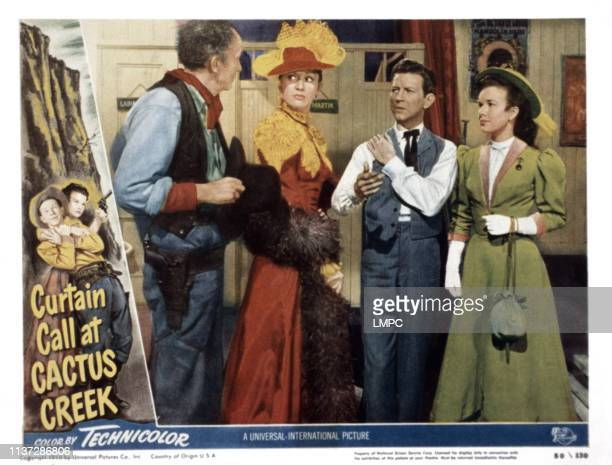 Curtain Call At Cactus Creek, lobbycard, from left, Walter Brennan, Eve Arden, Donald O'Connor, Gale Storm, 1950.