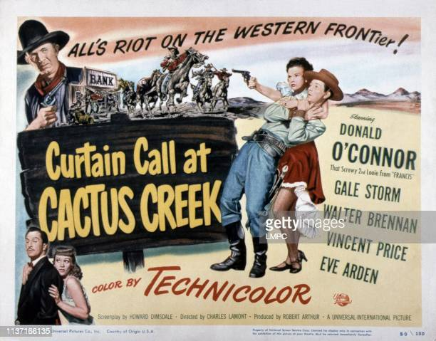 Curtain Call At Cactus Creek, poster, top from left: Walter Brennan, Gale Storm, Donald O'Connor, bottom from left: Vincent Price, Eve Arden, 1950.
