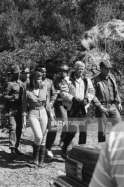 "Curtain Call"" Episode 23 -- Pictured: Marla Heasley as Tawnia Baker, Mr. T as B.A. Baracus, George Peppard as John 'Hannibal' Smith, Lance LeGault as..."