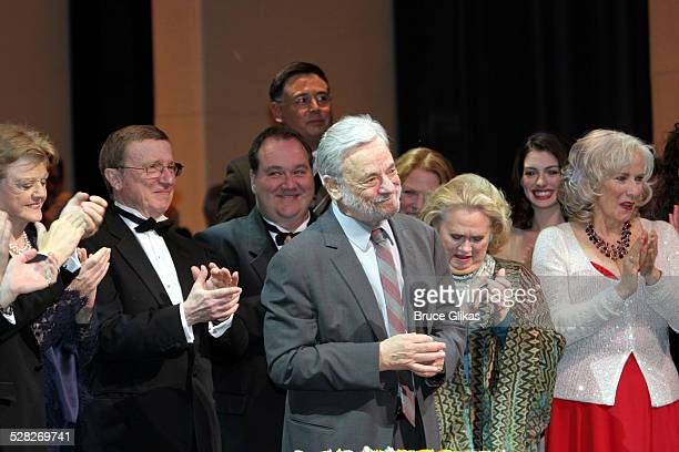 Curtain Call with Angela Lansbury George Hearn Stephen Sondheim Kevin Stites musical director and producer Becky Ann Baker and Barbara Cook Ann...