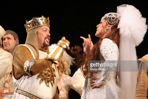 Curtain Call with Tim Curry and Sara Ramirez during Monty Python's Spamalot Opening Night on Broadway Curtain Call at The Shubert Theater in New York...