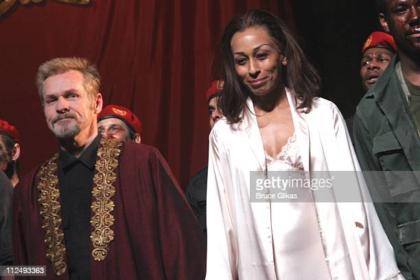 """Curtain Call with William Sadler and Tamara Tunie during Curtain Call for """"Julius Caesar"""" on Broadway at The Belasco Theater in New York City, New..."""