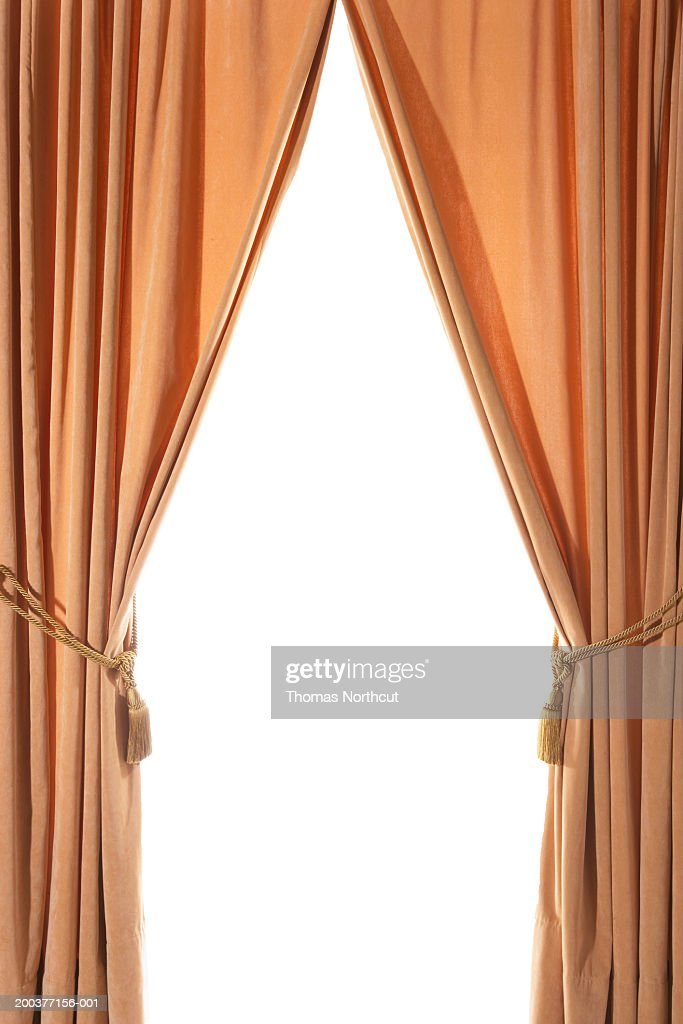 Delightful Curtains Drawn Back With Tasseled Curtain Ties : Stock Photo