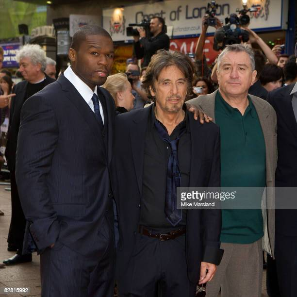 Curtis '50 Cent' Jackson Al Pacino and Robert De Niro arrive at the UK Premiere of Righteous Kill at the Empire Leicester Square on September 14 2008...