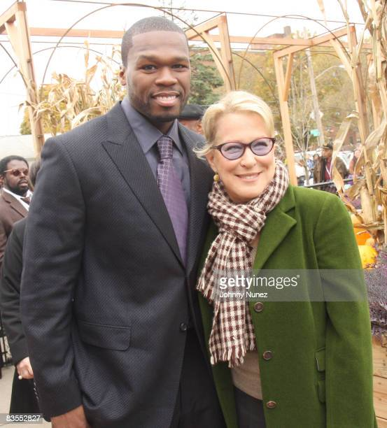 Curtis '50 Cent' Jackson and Bette Midler attend the opening of the Curtis '50 Cent' Jackson Community Garden on Novemeber 3 2008 in the Jamaica...