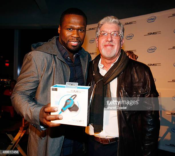 Curtis '50 Cent' Jackson and Brian Nohe attend Intel x SMS Audio product launch at Four World Trade Center on December 3 2014 in New York City
