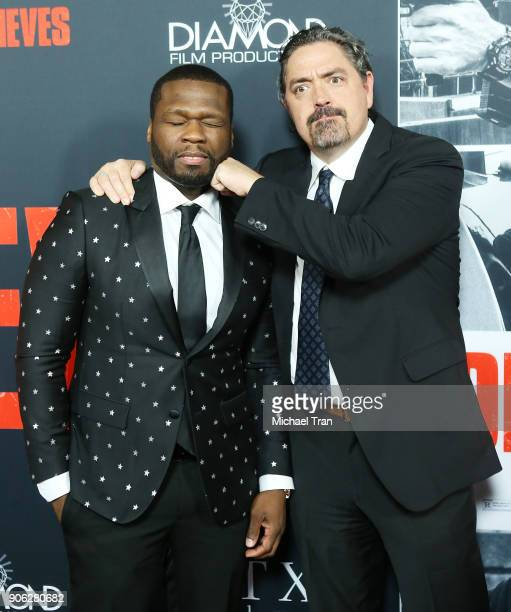 Curtis 50 Cent Jackson and Christian Gudegast arrive to Los Angeles premiere of STX Films' Den Of Thieves held at Regal LA Live Stadium 14 on January...