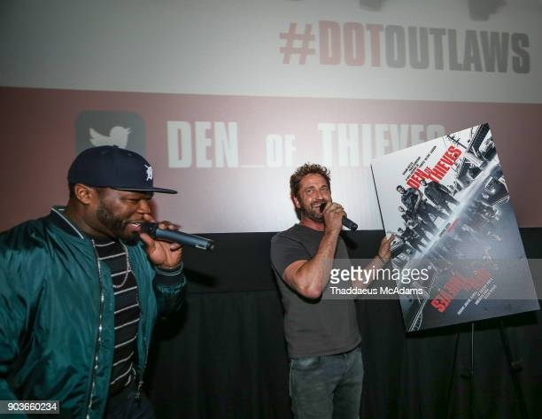 Curtis '50 Cent' Jackson and Gerard Butler at The Den of Thieves special screening at Regal South Beach on January 10 2018 in Miami Florida