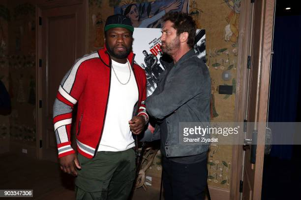 Curtis '50 Cent' Jackson and Gerard Butler attends 'Den Of Thieves' Private Screening at the Whitby Hotel on January 9 2018 in New York City