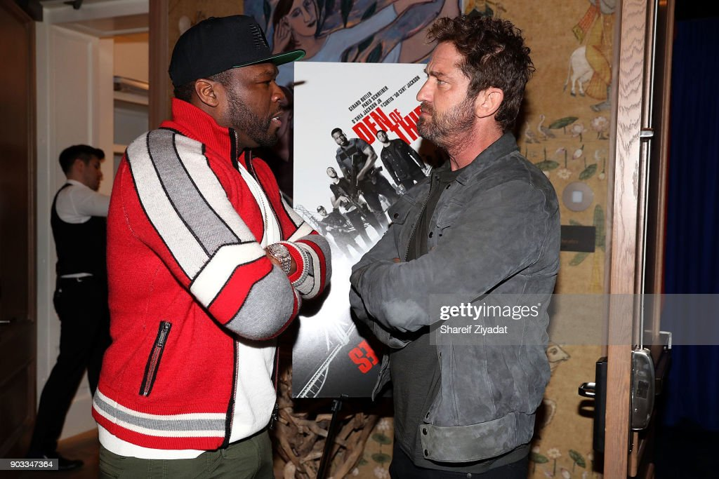 Curtis '50 Cent' Jackson and Gerard Butler attends 'Den Of Thieves' Private Screening at the Whitby Hotel on January 9, 2018 in New York City.