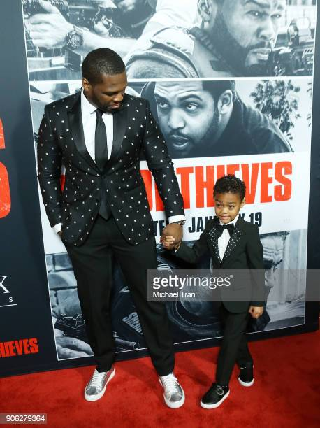 Curtis '50 Cent' Jackson and his son Sire Jackson arrive to Los Angeles premiere of STX Films' 'Den Of Thieves' held at Regal LA Live Stadium 14 on...