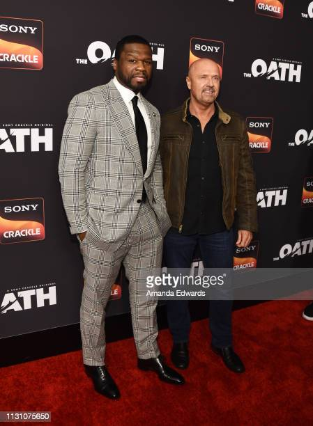 Curtis '50 Cent' Jackson and Joe Halpin arrive at Sony Crackle's 'The Oath' Season 2 exclusive screening event at Paloma on February 20 2019 in Los...