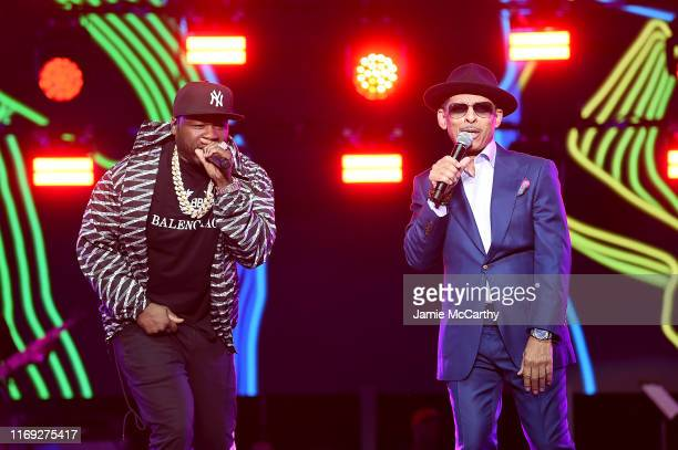 Curtis 50 Cent Jackson and Kenni Burke performing onstage at STARZ Madison Square Garden Power Season 6 Red Carpet Premiere Concert and Party on...