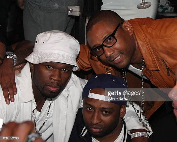 Curtis 50 Cent Jackson and rapper Maino celebrate New Issue of Smooth Magazine at Amnesia NYC on September 15 2011 in New York City